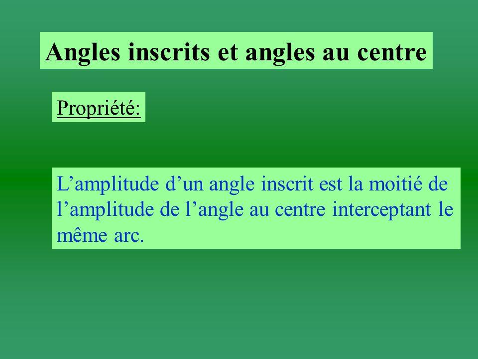 Angles inscrits et angles au centre Propriété: Lamplitude dun angle inscrit est la moitié de lamplitude de langle au centre interceptant le même arc.
