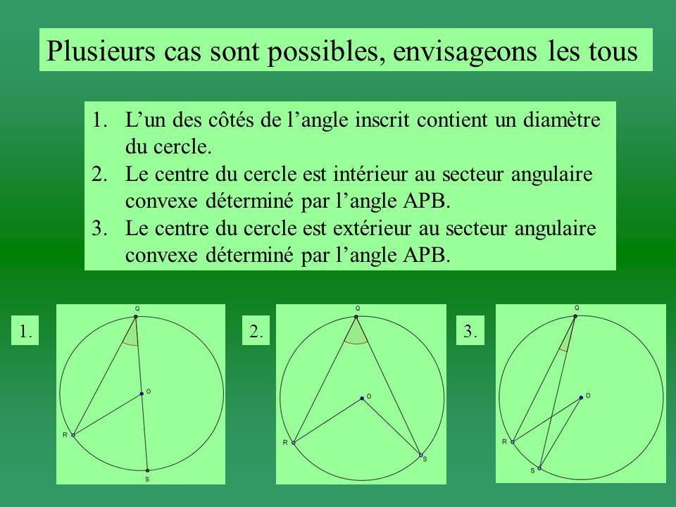 Lun des côtés de langle inscrit contient un diamètre du cercle.