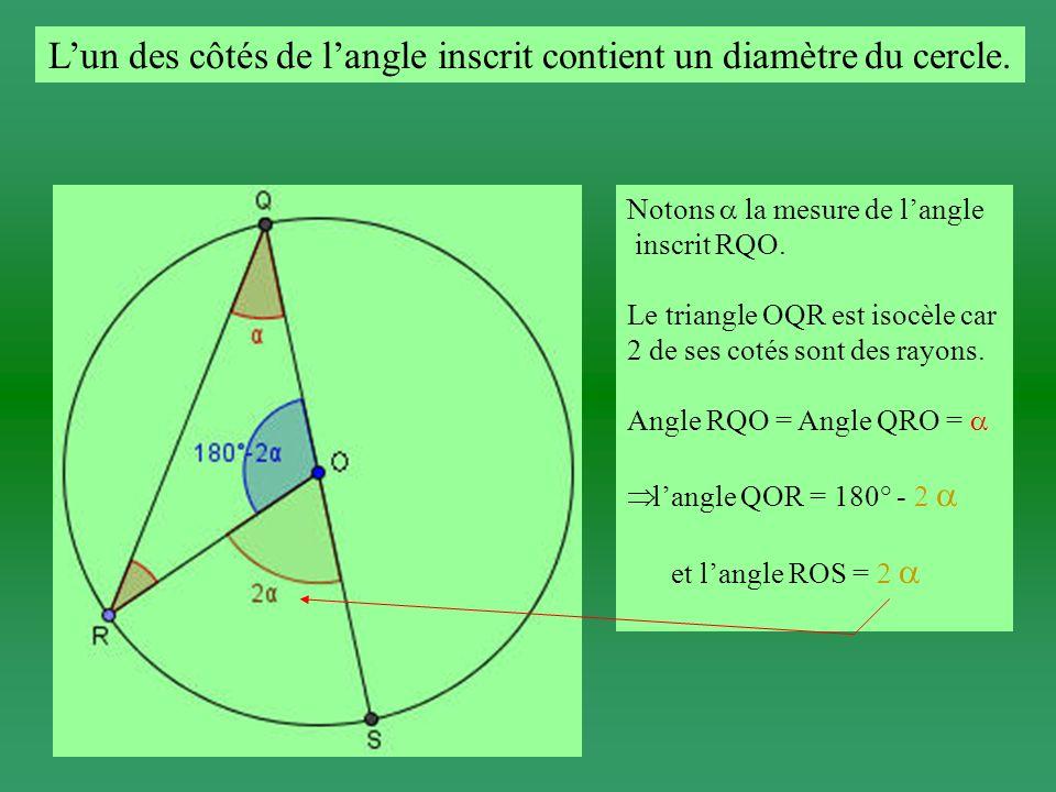 Le centre du cercle est intérieur au secteur angulaire convexe déterminé par langle RQS.