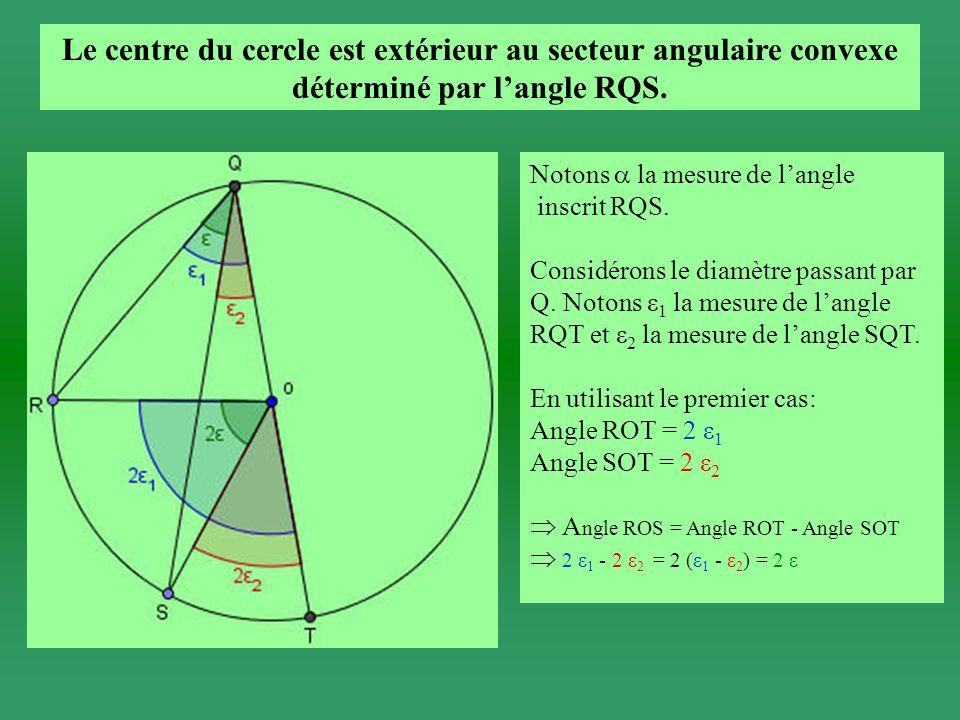 Le centre du cercle est extérieur au secteur angulaire convexe déterminé par langle RQS.