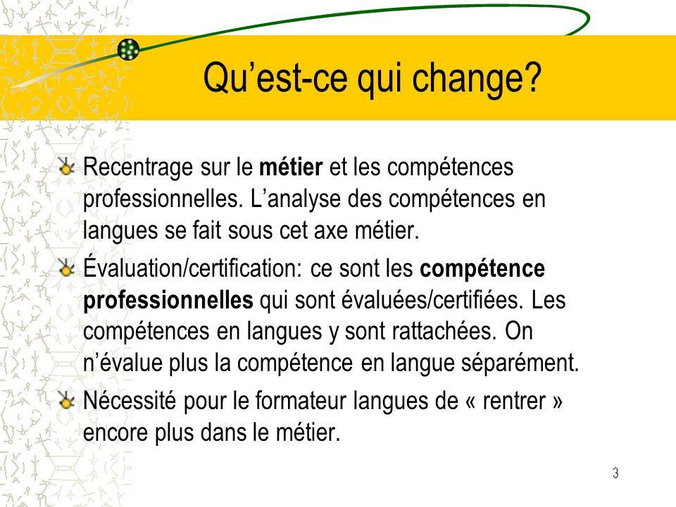 3 Quest-ce qui change. Recentrage sur le métier et les compétences professionnelles.