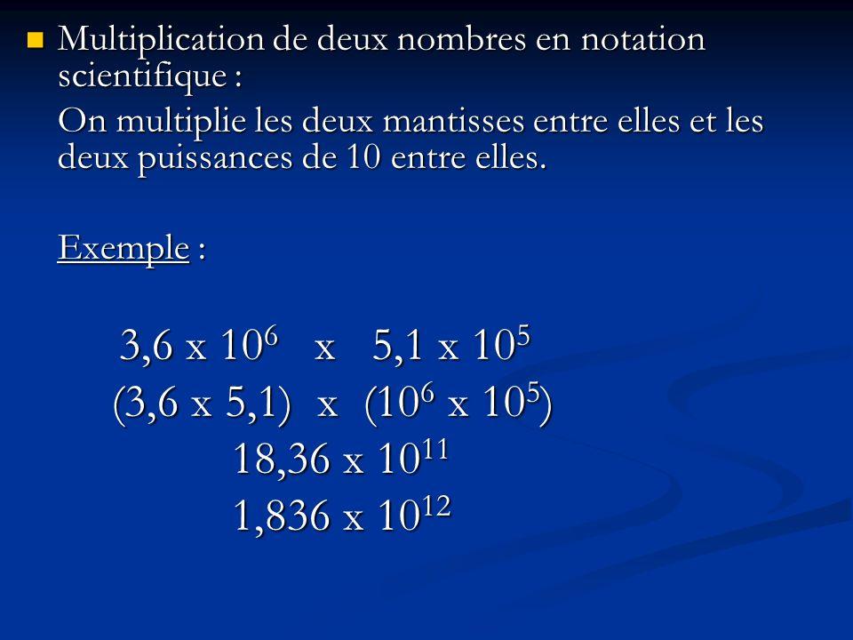 Division de deux nombres en notation scientifique : Division de deux nombres en notation scientifique : On divise les deux mantisses entre elles et les deux puissances de 10 entre elles.