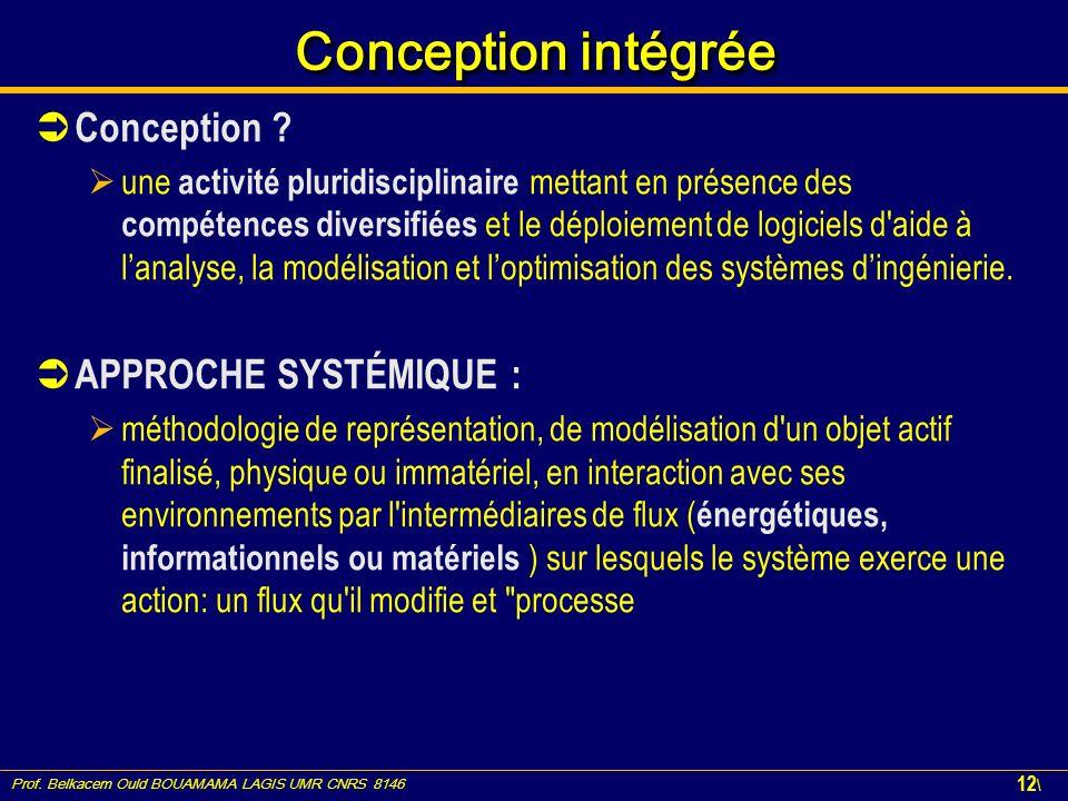 Prof. Belkacem Ould BOUAMAMA LAGIS UMR CNRS 8146 12 \ Conception intégrée Conception ? une activité pluridisciplinaire mettant en présence des compéte