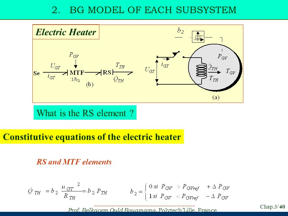 Prof. Belkacem Ould Bouamama, PolytechLille, France Chap.3/ 40 2. BG MODEL OF EACH SUBSYSTEM Constitutive equations of the electric heater RS and MTF