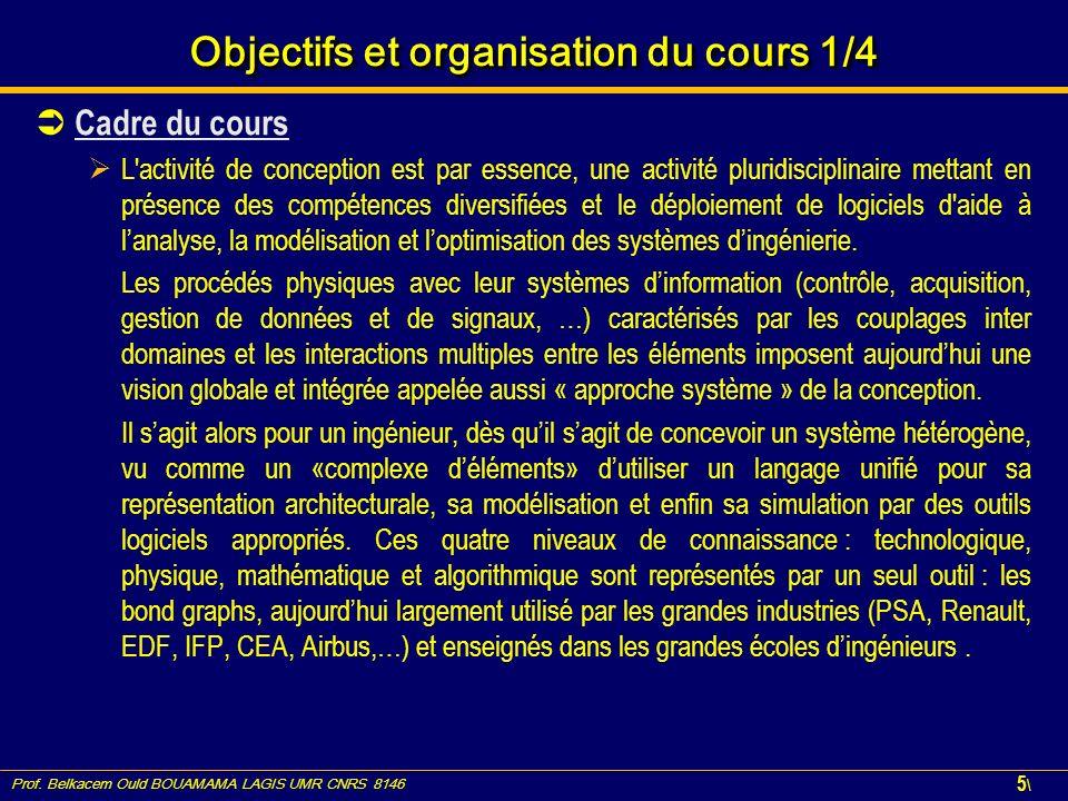 Prof. Belkacem Ould BOUAMAMA LAGIS UMR CNRS 8146 5\5\ Objectifs et organisation du cours 1/4 Cadre du cours L'activité de conception est par essence,