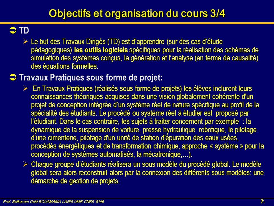 Prof. Belkacem Ould BOUAMAMA LAGIS UMR CNRS 8146 7\7\ Objectifs et organisation du cours 3/4 TD Le but des Travaux Dirigés (TD) est dapprendre (sur de