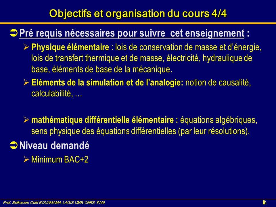 Prof. Belkacem Ould BOUAMAMA LAGIS UMR CNRS 8146 8\8\ Objectifs et organisation du cours 4/4 Pré requis nécessaires pour suivre cet enseignement : Phy