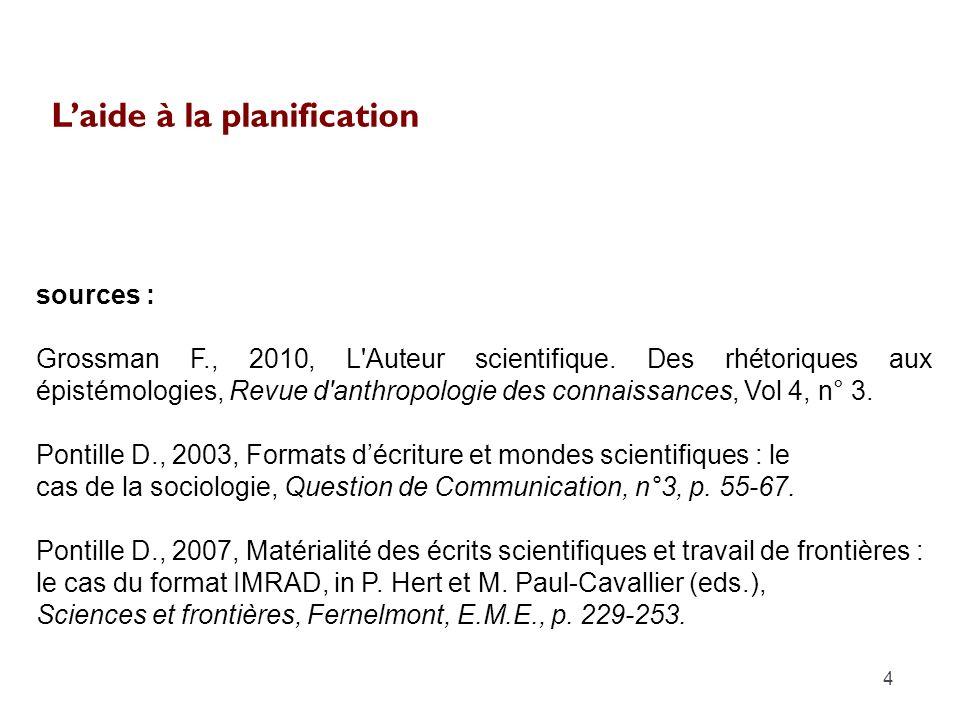 Laide à la planification 4 sources : Grossman F., 2010, L'Auteur scientifique. Des rhétoriques aux épistémologies, Revue d'anthropologie des connaissa