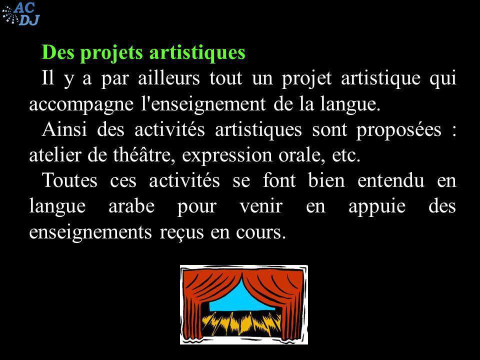 Des projets artistiques Il y a par ailleurs tout un projet artistique qui accompagne l'enseignement de la langue. Ainsi des activités artistiques sont