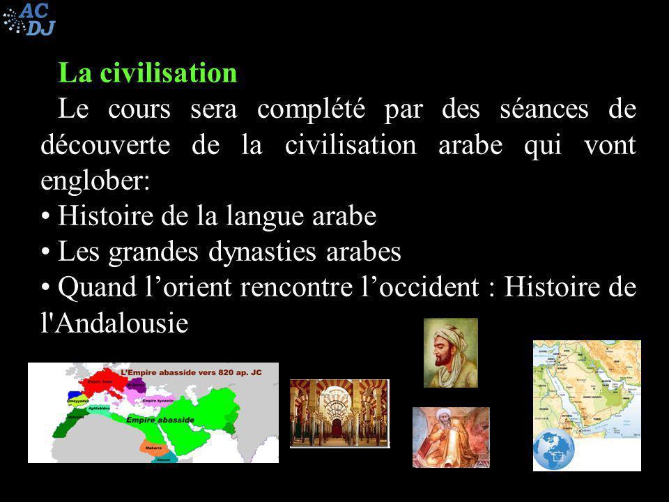 La civilisation Le cours sera complété par des séances de découverte de la civilisation arabe qui vont englober: Histoire de la langue arabe Les grand