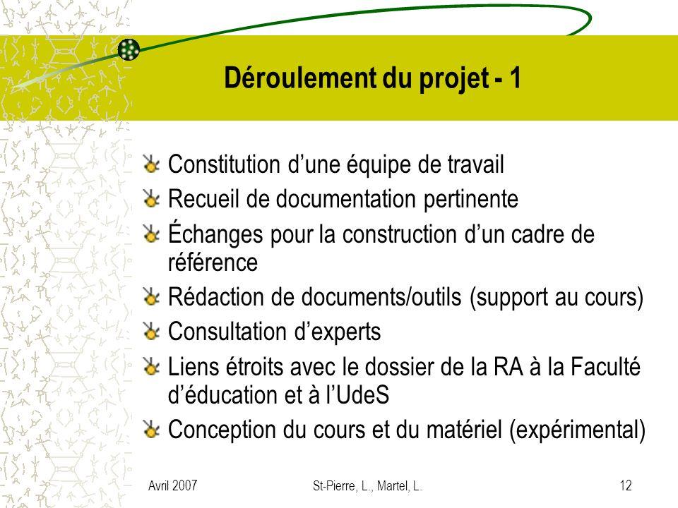 Avril 2007St-Pierre, L., Martel, L.12 Déroulement du projet - 1 Constitution dune équipe de travail Recueil de documentation pertinente Échanges pour