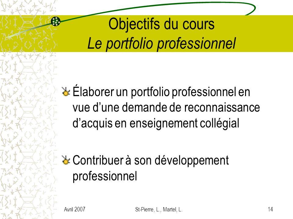 Avril 2007St-Pierre, L., Martel, L.14 Objectifs du cours Le portfolio professionnel Élaborer un portfolio professionnel en vue dune demande de reconna