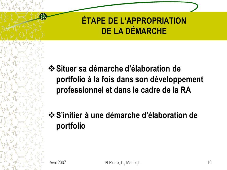 Avril 2007St-Pierre, L., Martel, L.16 ÉTAPE DE LAPPROPRIATION DE LA DÉMARCHE Situer sa démarche délaboration de portfolio à la fois dans son développe