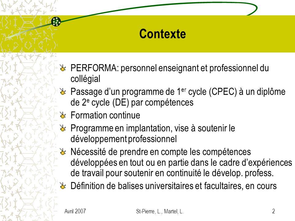 Avril 2007St-Pierre, L., Martel, L.2 Contexte PERFORMA: personnel enseignant et professionnel du collégial Passage dun programme de 1 er cycle (CPEC)
