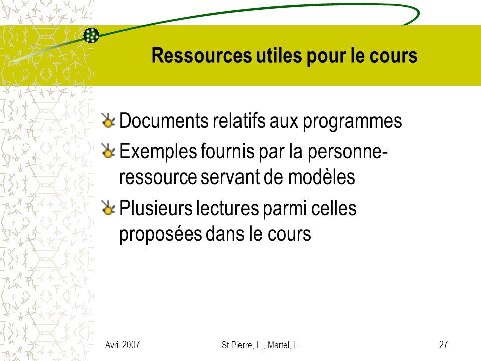 Avril 2007St-Pierre, L., Martel, L.27 Ressources utiles pour le cours Documents relatifs aux programmes Exemples fournis par la personne- ressource se