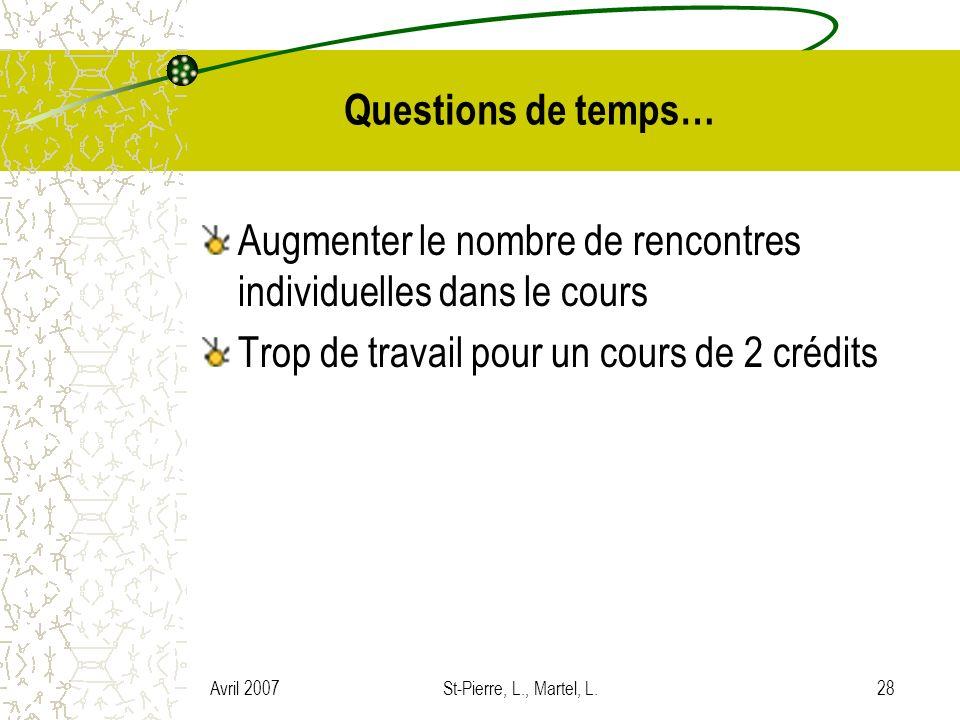 Avril 2007St-Pierre, L., Martel, L.28 Questions de temps… Augmenter le nombre de rencontres individuelles dans le cours Trop de travail pour un cours