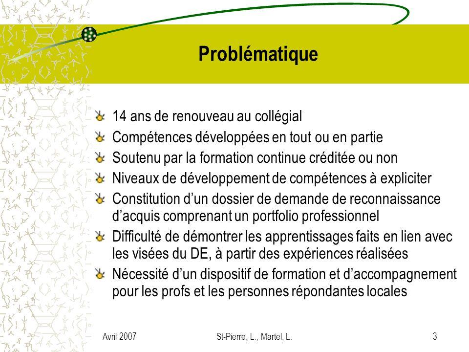 Avril 2007St-Pierre, L., Martel, L.14 Objectifs du cours Le portfolio professionnel Élaborer un portfolio professionnel en vue dune demande de reconnaissance dacquis en enseignement collégial Contribuer à son développement professionnel