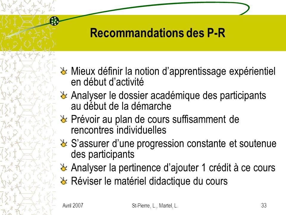 Avril 2007St-Pierre, L., Martel, L.33 Recommandations des P-R Mieux définir la notion dapprentissage expérientiel en début dactivité Analyser le dossi