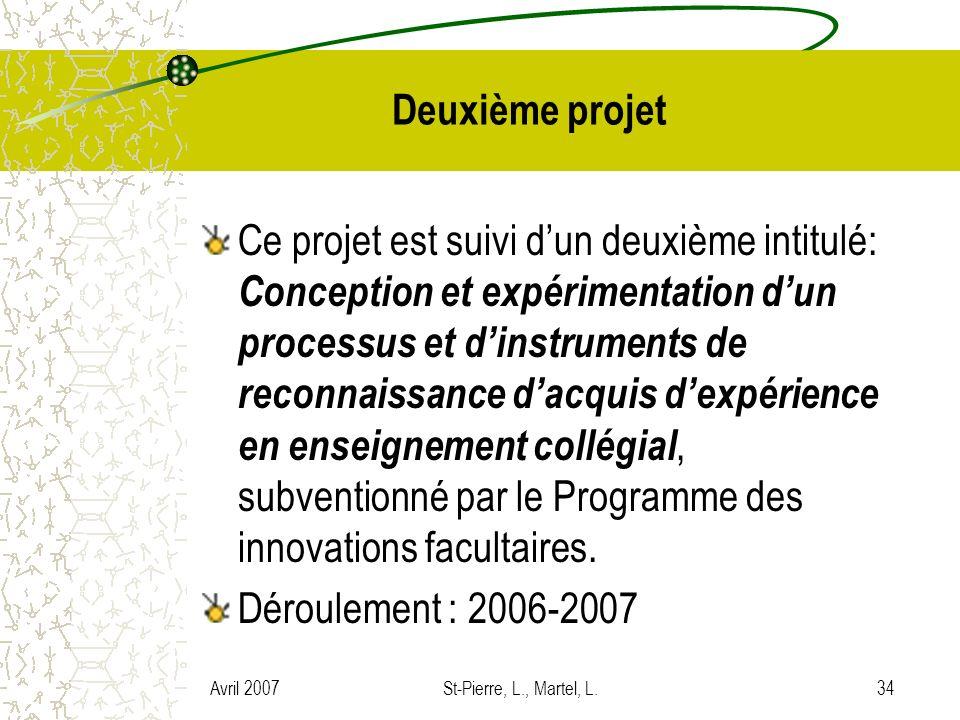 Avril 2007St-Pierre, L., Martel, L.34 Deuxième projet Ce projet est suivi dun deuxième intitulé: Conception et expérimentation dun processus et dinstr