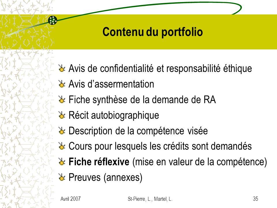 Avril 2007St-Pierre, L., Martel, L.35 Contenu du portfolio Avis de confidentialité et responsabilité éthique Avis dassermentation Fiche synthèse de la