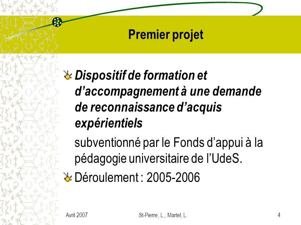 Avril 2007St-Pierre, L., Martel, L.5 Objectifs – Projet 1 1.Production dun cadre de référence conceptuel et opérationnel sur la RA expérientiels en enseignement collégial dans le cadre du DE 2.Mise au point, expérimentation et validation dun volet de formation créditée (production de portfolio professionnel) 3.