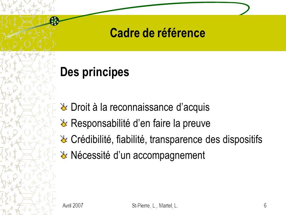 Avril 2007St-Pierre, L., Martel, L.6 Cadre de référence Des principes Droit à la reconnaissance dacquis Responsabilité den faire la preuve Crédibilité