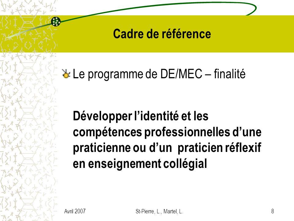 Avril 2007St-Pierre, L., Martel, L.8 Cadre de référence Le programme de DE/MEC – finalité Développer lidentité et les compétences professionnelles dun