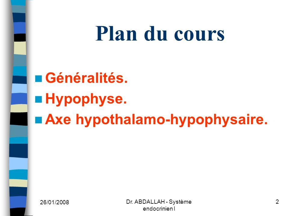 26/01/2008 Dr. ABDALLAH - Système endocrinien I 23