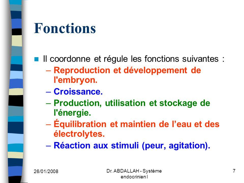 26/01/2008 Dr. ABDALLAH - Système endocrinien I 8