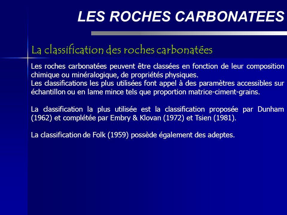 LES ROCHES CARBONATEES Les roches carbonatées peuvent être classées en fonction de leur composition chimique ou minéralogique, de propriétés physiques.
