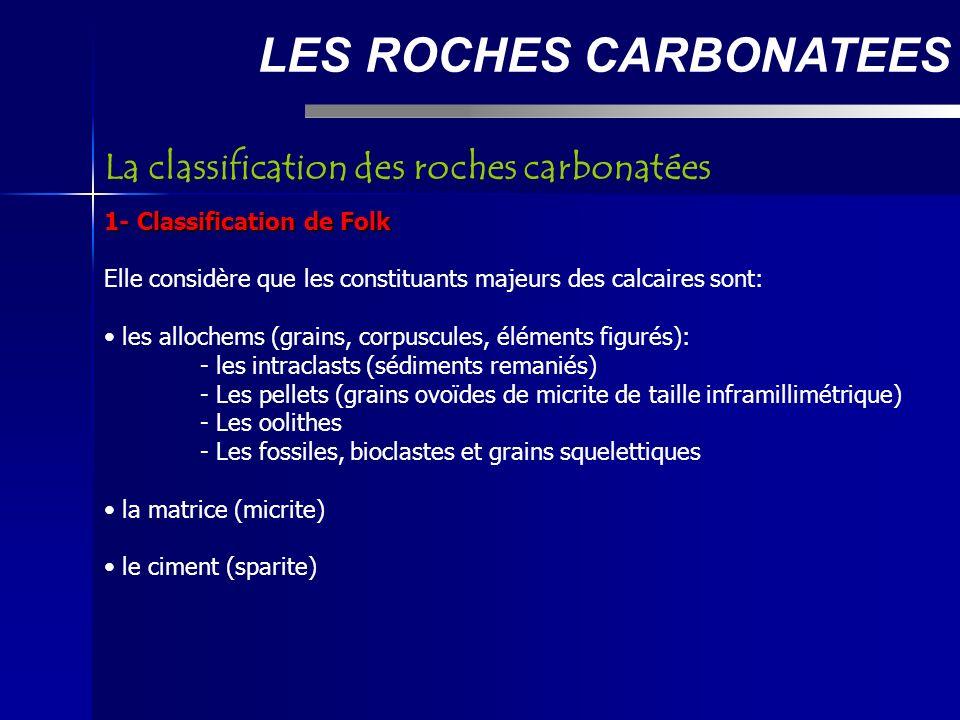 LES ROCHES CARBONATEES 1- Classification de Folk Elle considère que les constituants majeurs des calcaires sont: les allochems (grains, corpuscules, éléments figurés): - les intraclasts (sédiments remaniés) - Les pellets (grains ovoïdes de micrite de taille inframillimétrique) - Les oolithes - - Les fossiles, bioclastes et grains squelettiques la matrice (micrite) le ciment (sparite) La classification des roches carbonatées