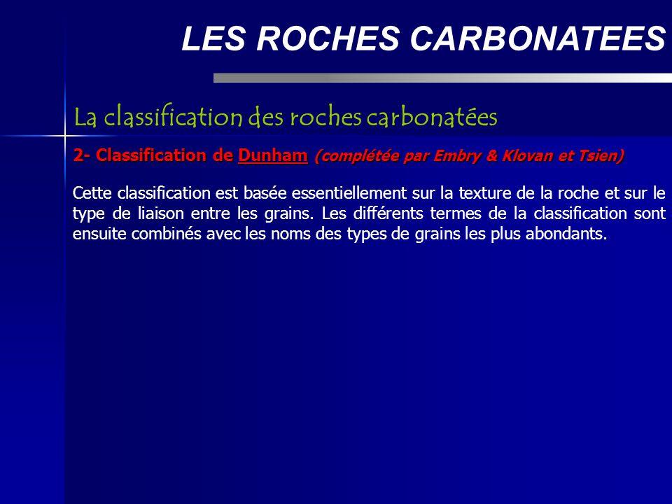 LES ROCHES CARBONATEES 2- Classification de Dunham (complétée par Embry & Klovan et Tsien) Cette classification est basée essentiellement sur la texture de la roche et sur le type de liaison entre les grains.