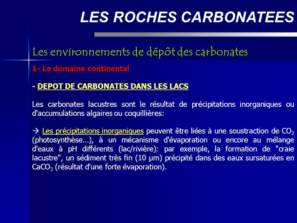 La classification de Dunham LES ROCHES CARBONATEES Si plus de 10% d éléments > 2 mm: - Floatstone: éléments non jointifs - Rudstone: éléments jointifs