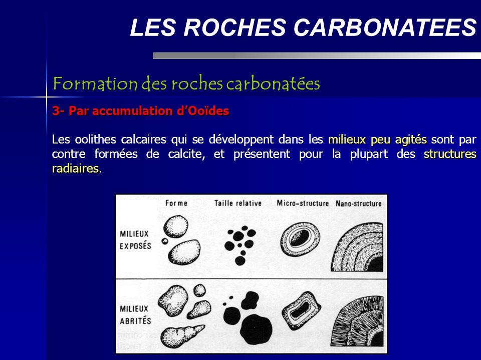 LES ROCHES CARBONATEES 3- Par accumulation dOoïdes milieux peu agités structures radiaires Les oolithes calcaires qui se développent dans les milieux peu agités sont par contre formées de calcite, et présentent pour la plupart des structures radiaires.