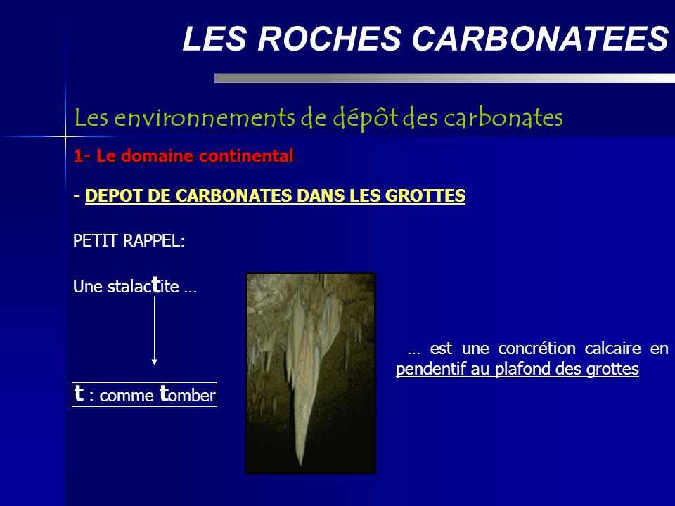 LES ROCHES CARBONATEES 1- Le domaine continental - DEPOT DE CARBONATES DANS LES GROTTES Les environnements de dépôt des carbonates PETIT RAPPEL: Une stalac t ite … … est une concrétion calcaire en pendentif au plafond des grottes t : comme t omber