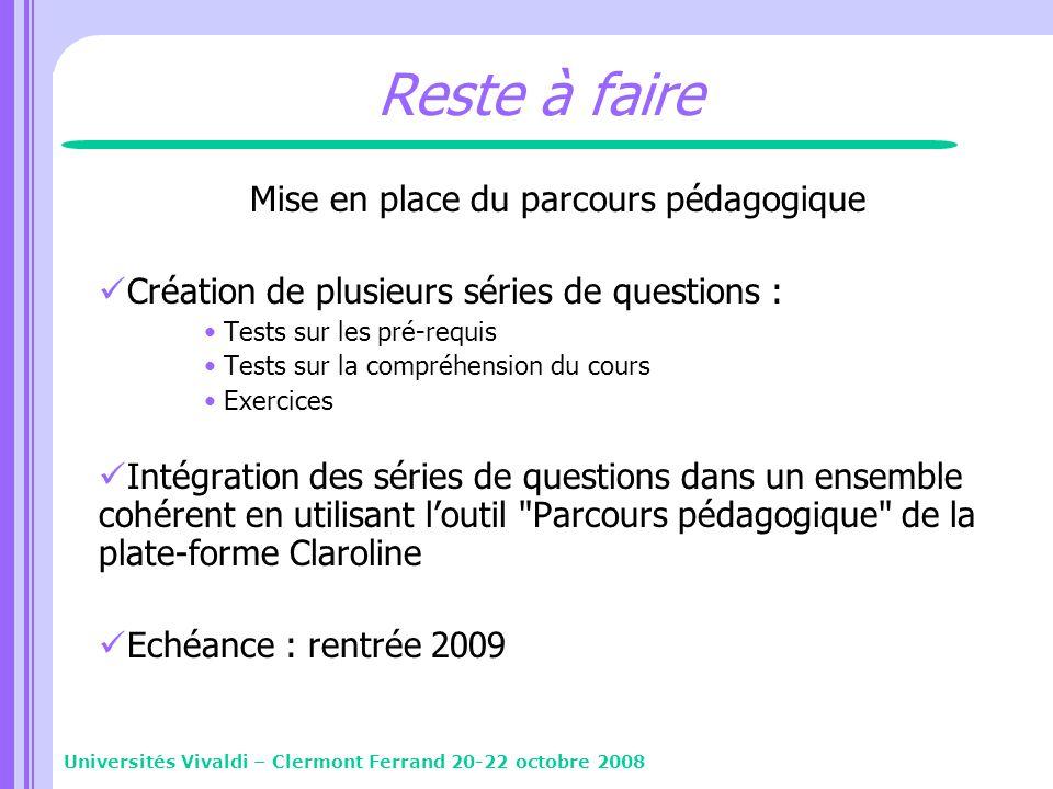 Reste à faire Mise en place du parcours pédagogique Création de plusieurs séries de questions : Tests sur les pré-requis Tests sur la compréhension du