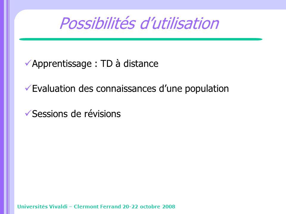 Possibilités dutilisation Apprentissage : TD à distance Evaluation des connaissances dune population Sessions de révisions Universités Vivaldi – Clerm