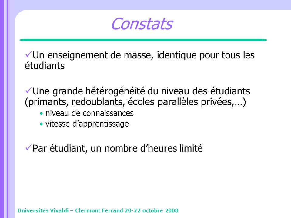 Constats Un enseignement de masse, identique pour tous les étudiants Une grande hétérogénéité du niveau des étudiants (primants, redoublants, écoles p