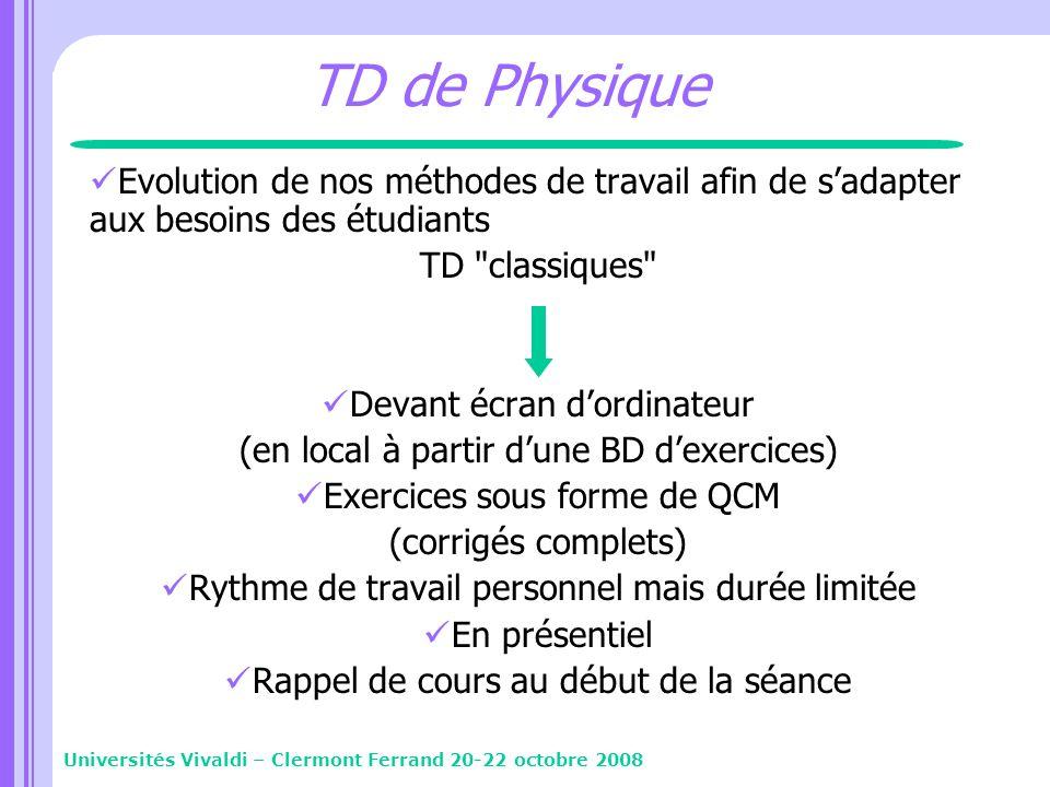 TD de Physique Evolution de nos méthodes de travail afin de sadapter aux besoins des étudiants TD
