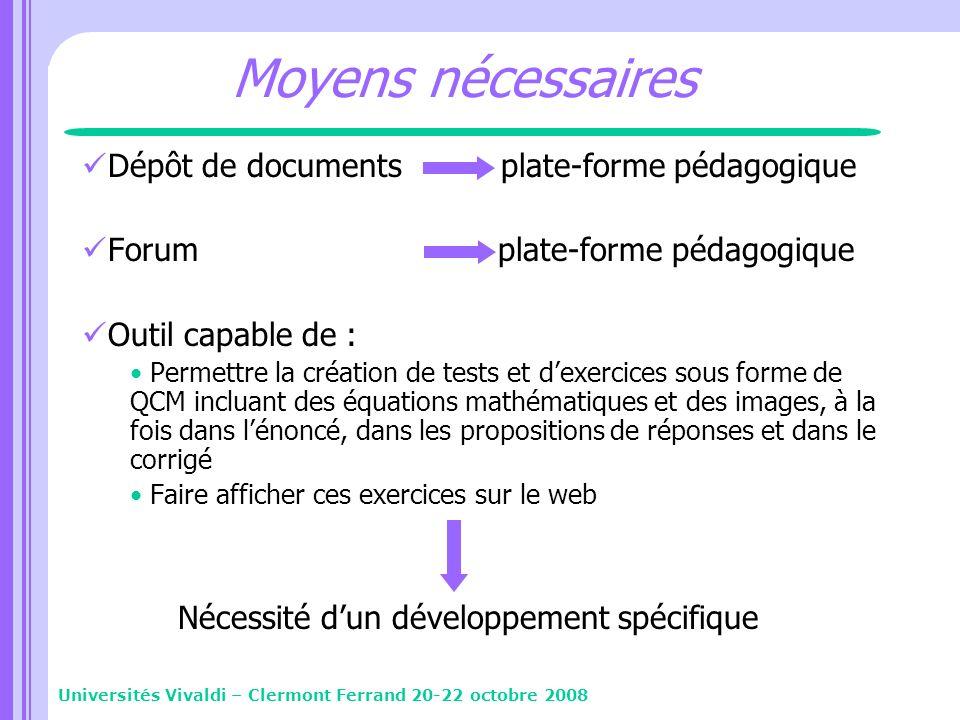 Moyens nécessaires Dépôt de documents plate-forme pédagogique Forum plate-forme pédagogique Outil capable de : Permettre la création de tests et dexer