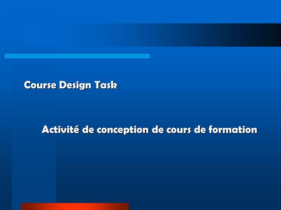 Course Design Task Activité de conception de cours de formation