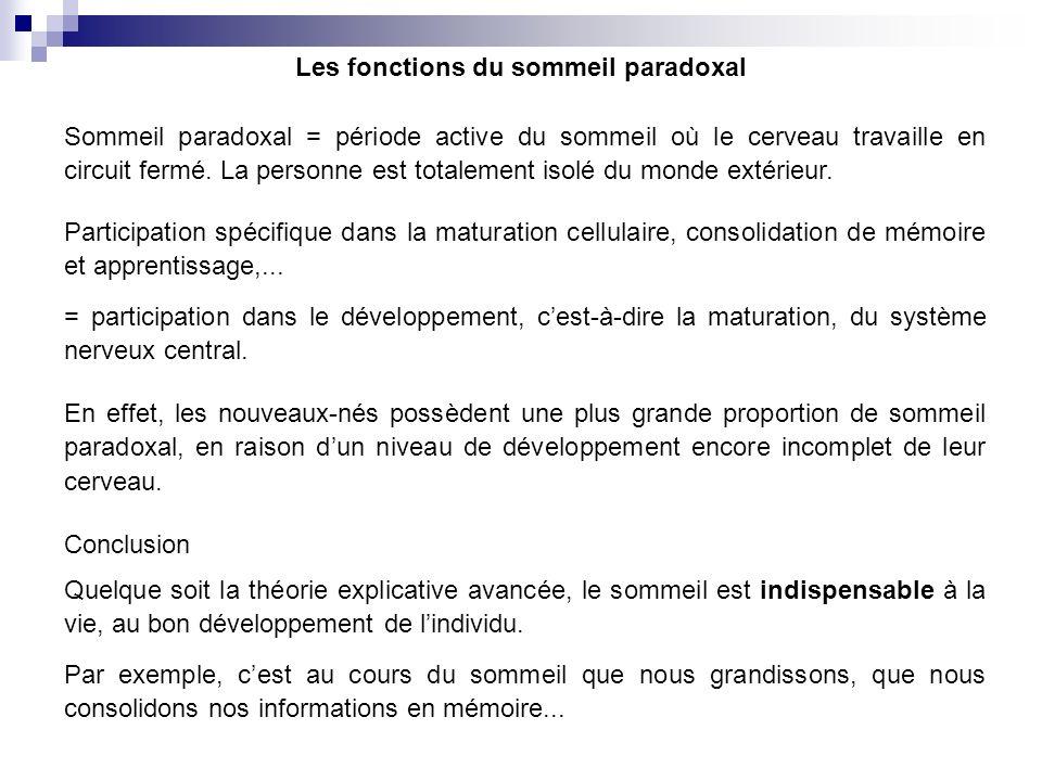Les fonctions du sommeil paradoxal Sommeil paradoxal = période active du sommeil où le cerveau travaille en circuit fermé. La personne est totalement