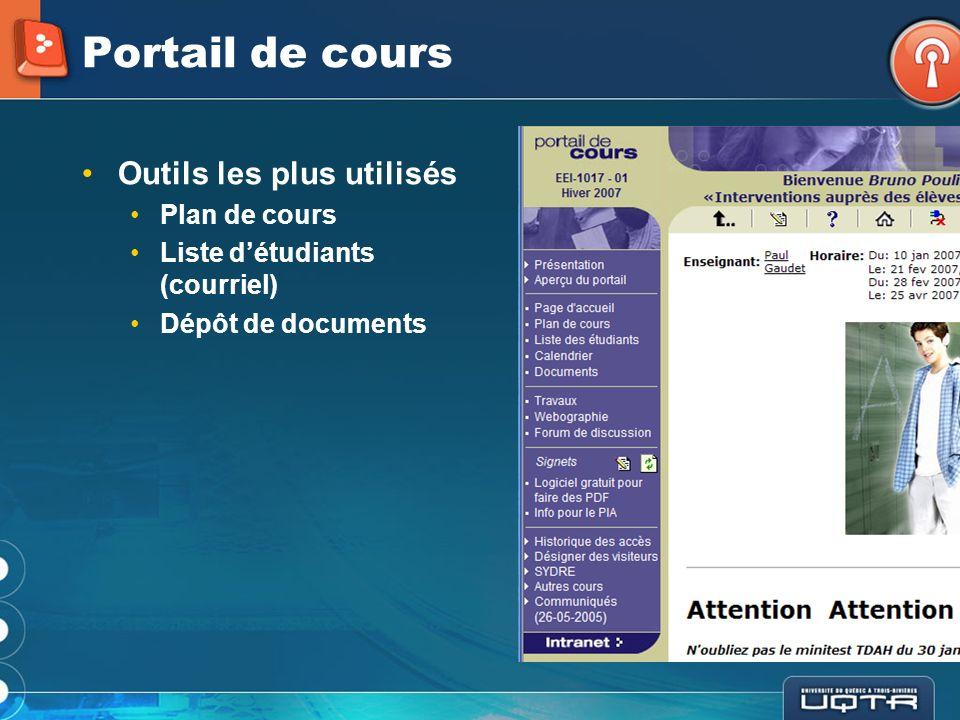 Portail de cours Quelques statistiques (A-2006): 1 236 portails 1 134 modifiés (92%) 1 036 033 accès 430 cours plus de 1 000 accès 320000