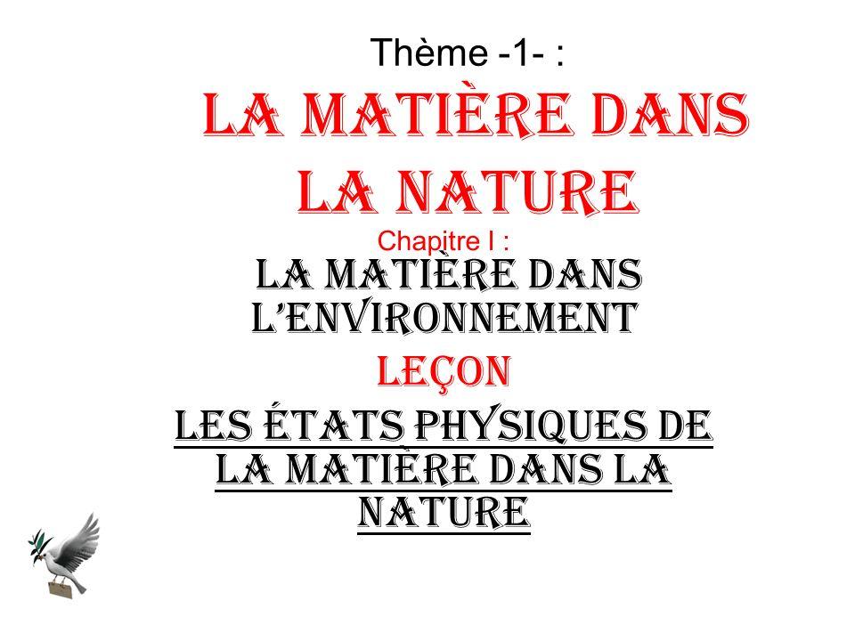 Thème -1- : La matière dans la nature Chapitre I : La matière dans lenvironnement Leçon Les états physiques de la matière dans la nature