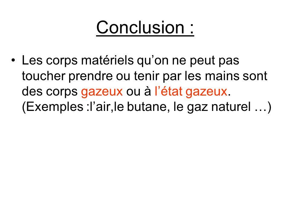 Conclusion : Les corps matériels quon ne peut pas toucher prendre ou tenir par les mains sont des corps gazeux ou à létat gazeux. (Exemples :lair,le b