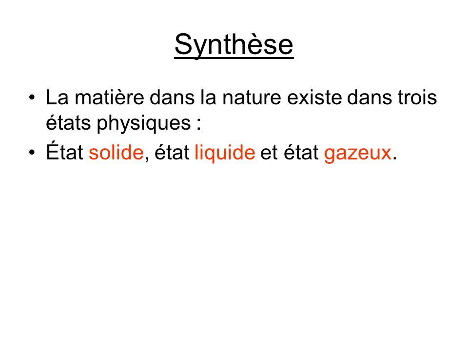 Synthèse La matière dans la nature existe dans trois états physiques : État solide, état liquide et état gazeux.