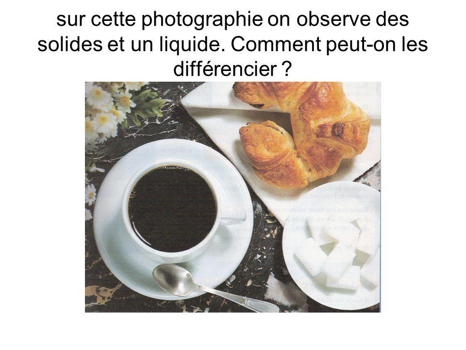 sur cette photographie on observe des solides et un liquide. Comment peut-on les différencier ?