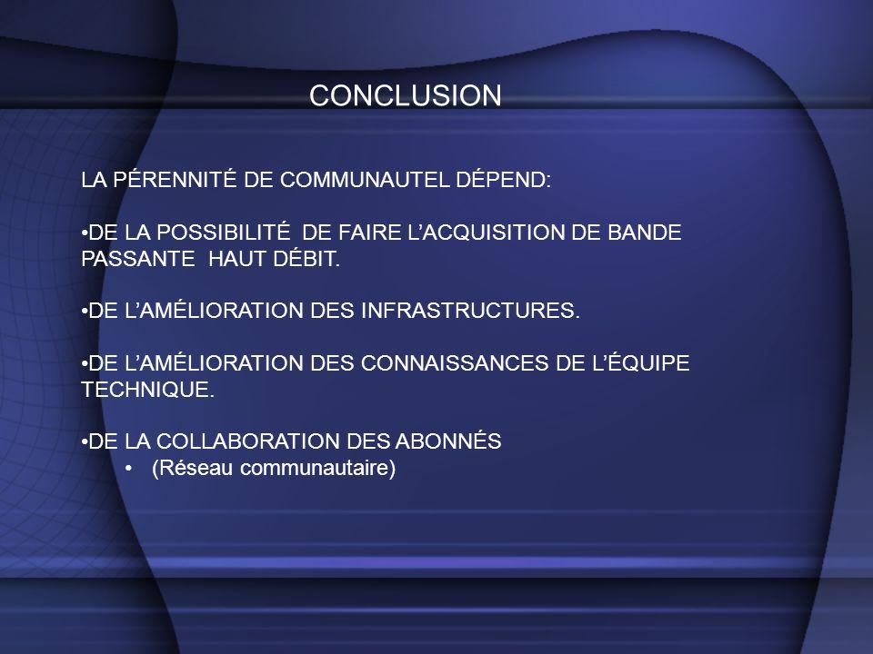 CONCLUSION LA PÉRENNITÉ DE COMMUNAUTEL DÉPEND: DE LA POSSIBILITÉ DE FAIRE LACQUISITION DE BANDE PASSANTE HAUT DÉBIT. DE LAMÉLIORATION DES INFRASTRUCTU