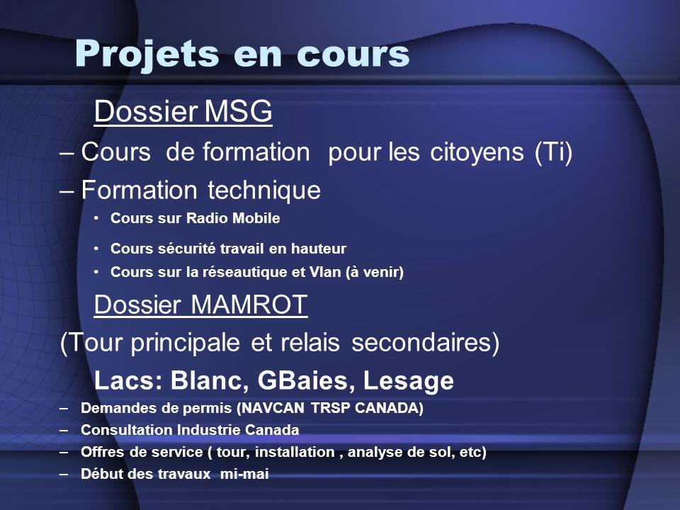 Projets en cours Dossier MSG –Cours de formation pour les citoyens (Ti) –Formation technique Cours sur Radio Mobile Cours sécurité travail en hauteur