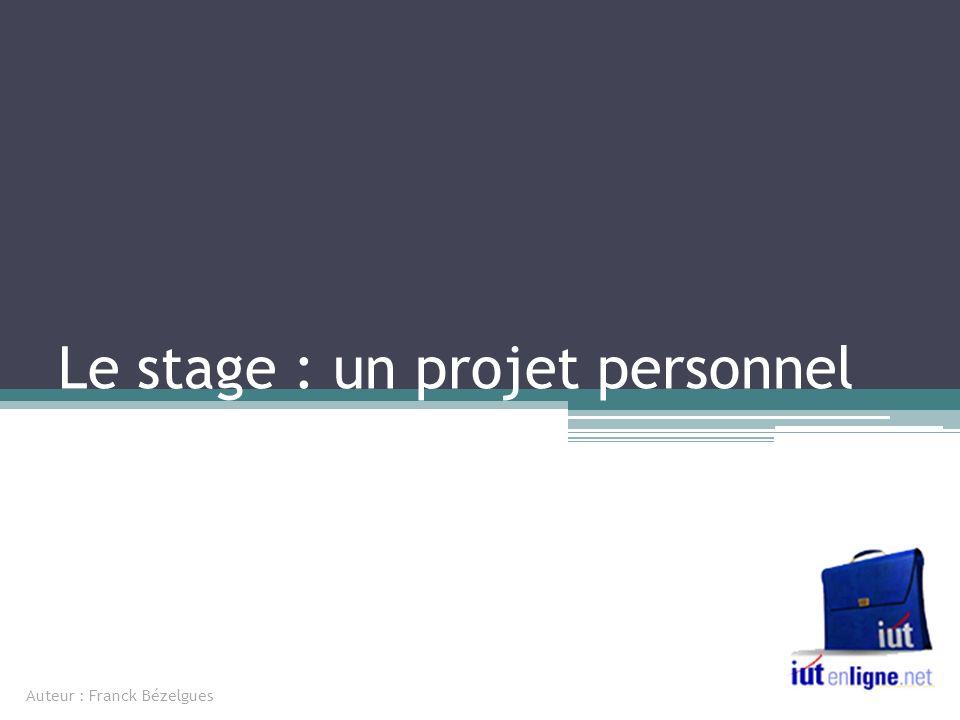 Le stage : un projet personnel Auteur : Franck Bézelgues